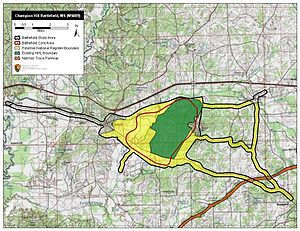 Battle of Champion Hill - Map of Champion Hill Battlefield core and study areas by the American Battlefield Protection Program.