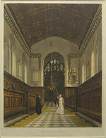 The chapel in 1814. Note the narrow chancel arch before Street's alterations, and the painting of St Michael as the altarpiece.