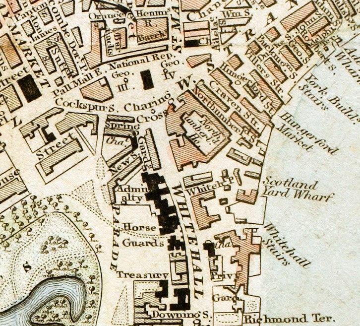 Charing Cross London from 1833 Schmollinger map