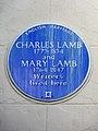 Charles Lamb 1775-1834 and Mary Lamb 1764-1847 writers lived here.jpg