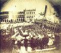 Chegada a Lisboa de D. Estefânia, Praça do Comércio (18 de Maio de 1858) - Amédée Lemaire de Ternante.png