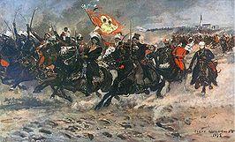 Kazimierz Pułaski pod Częstochową, obraz Józefa Chełmońskiego 1875, na sztandarze wojsk powstańczych widnieje wizerunek Cudownego Obrazu