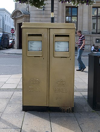 2012 Summer Olympics and Paralympics gold post boxes - Image: Cheltenham gold post box