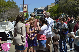 Cheryl Hines - Hines, Grand Marshal of the Springtime Tallahassee Grand Parade, providing autographs and pictures for residents of Tallahassee on April 6, 2013