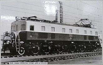 Korean State Railway - Chŏngiha-class electric locomotive 전기하3, of the first class of electric locomotives in Korea.