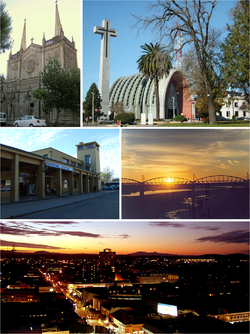 Clockwise, from top: Iglesia de la Virgen del Carmen de Chillán, catedral de Chillán, estación Chillán, puente ferroviario de Ñuble and the panoramic view of the city at sunset.