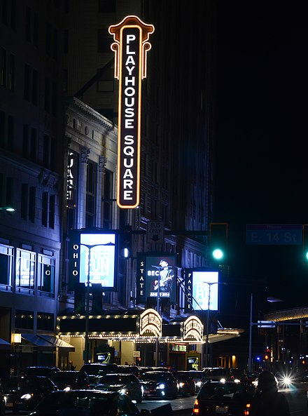 Cleveland's vibrant Playhouse Square is the second largest performing arts center in the U.S. after New York's Lincoln Center. It was also the city's main movie theater district during the Golden Age of Hollywood. Cleveland Playhouse Square (13917560487).jpg