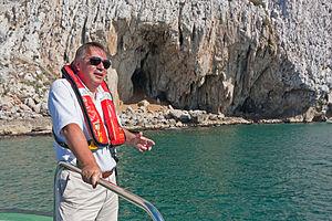 Vanguard Cave - Prof. Clive Finlayson delivering a short talk for Gibraltarpedia just off Vanguard Cave.