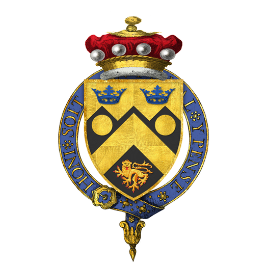 "Garter-encircled arms of Cameron Cobbold, 1st Baron Cobbold, KG, as displayed on his Order of the Garter stall plate in St. George's Chapel, Windsor Castle - viz. Sable a chevron or between two bezants in chief and a lion passant in base of the last, on a chief dancetty of the last two ducal coronets azure. Coat of Arms of Cameron ""Kim"" Cobbold, 1st Baron Cobbold, KG, GCVO, PC, DL.png"