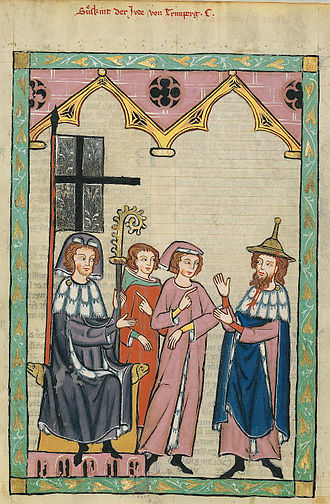 Jewish hat - The Jewish poet Süßkind von Trimberg (on the right) wearing a Jewish hat (Codex Manesse, fourteenth century)