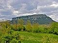 Collsacabra des de Can Bach. Molt petit a la carena de la muntanya de l'esquerra, el santuari de Cabrera - panoramio.jpg