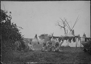 Comanche Buffalo hunters and their tepee lodge...