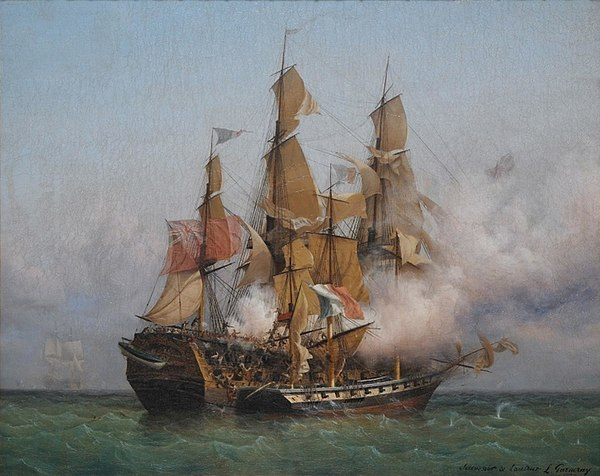 East Indiaman Kent battling Confiance, a privateer vessel commanded by French corsair Robert Surcouf in October 1800, as depicted in a painting by Ambroise Louis Garneray. Confiance Kent fight.jpg