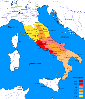 Pyrrhic War - Map showing the expansion of Roman power over the Italian peninsula prior to and just after Pyrrhic War, 400-264 BC.