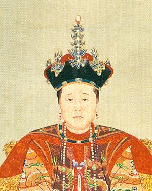 Empress Dowager Xiaozhuang - Image: Consort Zhuang in court costume (detail)