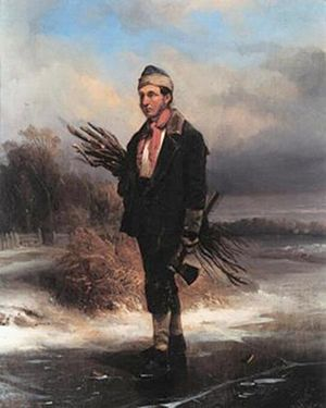 Cornelis Springer - Self portrait as a firewood gatherer walking along a frozen canal.