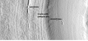 Glaciers on Mars - Image: Crackswithpitsconcen tric