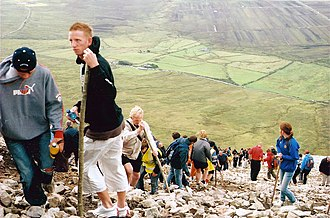 Reek Sunday - Groups of people climbing Croagh Patrick on Reek Sunday