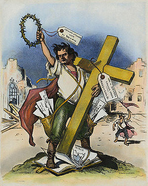 Cross of Gold speech - Judge magazine criticized Bryan for sacrilege in his speech. He is shown with crown and cross, but trampling the Bible.
