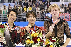 Sergei Voronov (figure skater) - Voronov with the other medalists at the 2012 Cup of China