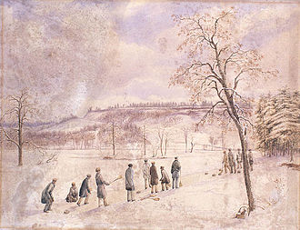 High Park - An 1836 watercolour of curling at High Park by John George Howard, the property's first owner.