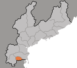 Map of South Hamgyong showing the location of Kowon