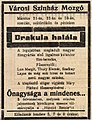 DRAKULA HALÁLA first released in the city of Esztgerom, 65 miles north of Budapest, on March 21st, 1923.jpg
