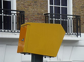 Road speed limit enforcement in the United Kingdom - Gatso speed camera, London July 2009, side view