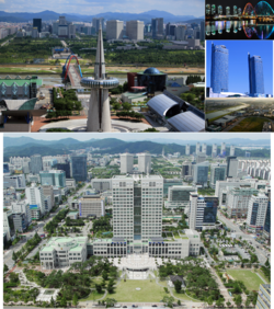From top left: Downtown view with Hanbit tower, EXPO Bridge, Korail head office building, the Gap river and Daedeok science R&D town, Daejeon City hall and National Government Complex in downtown(Dunsan district)