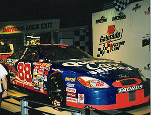 Dale Jarrett - Dale Jarrett's 2000 Daytona 500 winning car on display at Daytona USA, taken January 2001