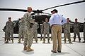 Defense.gov News Photo 110710-F-RG147-276 - Maj. Patrick Zenk 1-214 Aviation Regiment Air Ambulance briefs Secretary of Defense Leon E. Panetta at Camp Dwyer Afghanistan on July 10.jpg