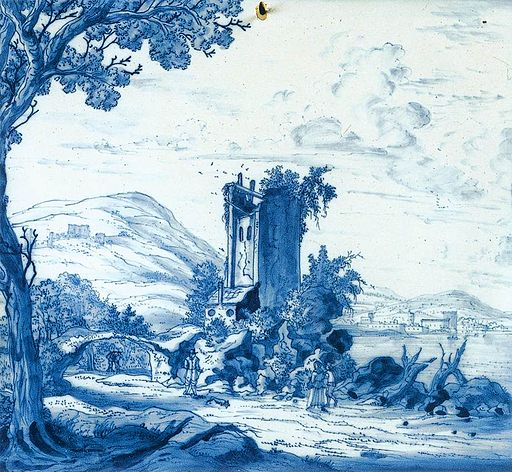 Delftware plaque with landscape and figures 001