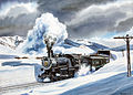 Denver & Salt Lake Railroad passenger train exiting a snow shed at the top of Rollins Pass, Colorado. Watercolor painting by Howard Fogg courtesy of Richard Fogg.jpg