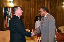 Ethiopia-Federal Democratic Republic (1991–present)-Deputy Secretary of Defense Ashton B. Carter, left, is greeted by Ethiopian Prime Minister Hailemariam Desalegn at his office in Addis Ababa, Ethiopia, on July 24, 2013 130724-M-EV637-339