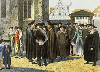 "Biblical Sabbath - ""Der Samstug (Sabbath)"", Frederich Campe, 1800: German Jews, wearing baretta hats, gather outside a synagogue on Sabbath."
