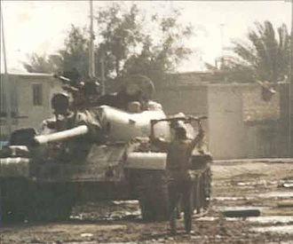 1991 uprisings in Iraq - An Iraqi government tank disabled by rebels