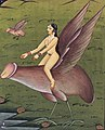 Detail, A woman riding on an enormous winged penis. Gouache Wellcome L0033078 (cropped).jpg