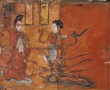 "Detail of ""Virtuous Women of Ancient Cathay"". Lacquer painting over wood, Northern Wei.jpg"