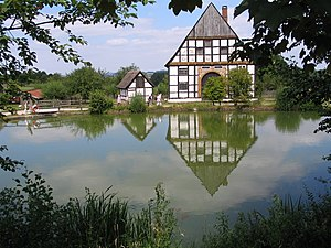 Detmold Open-air Museum - Lake and timber framed buildings in the museum