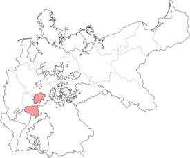 Lage des Großherzogtums Hessen im Deutschen Kaiserreich
