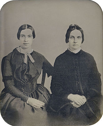 Emily Dickinson - In September 2012, the Amherst College Archives and Special Collections unveiled this daguerreotype, proposing it to be Dickinson and her friend Kate Scott Turner (ca. 1859); it has not been authenticated.