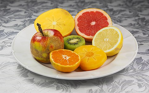 Dish with fruits