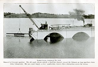 Crescent, New York - Dismantling the Crescent agueduct in 1915.