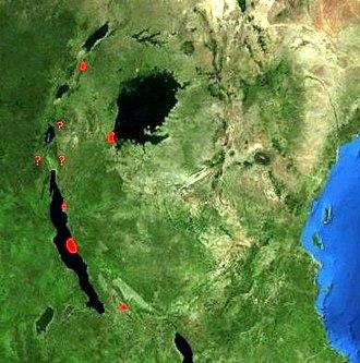 Ugandan red colobus - Image: Distribution Piliocolobus tephrosceles