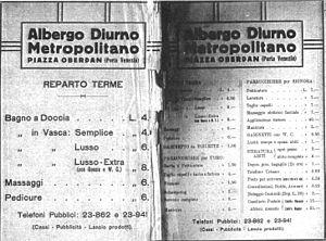 Albergo diurno Venezia - Price list of 1926 from the advertisement of the Diurno on the Guida Savallo