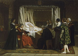 Queen Isabel la Católica dictating her last will and testament