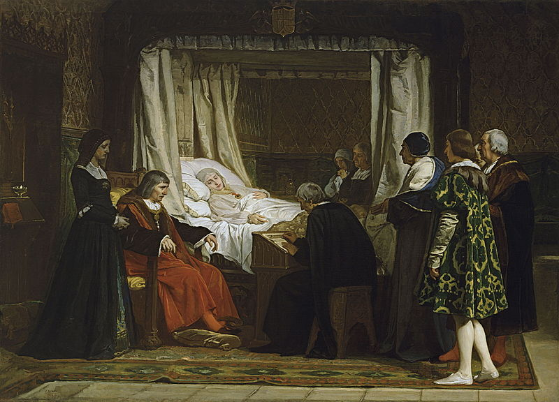 vida y muerte de Isabel I de Castilla 800px-Doña_Isabel_la_Católica_dictando_su_testamento_%28Rosales%29