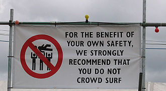 Crowd surfing - Sign at the 2004 Reading Festival