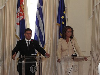 Dora Bakoyannis - Dora Bakoyannis with Vuk Jeremić, Minister of Foreign Affairs of Serbia.