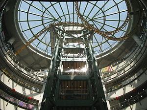 Dragon Centre - Atrium and abandoned roller coaster.